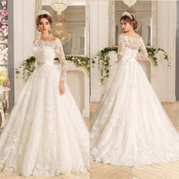 Vestido De Noiva Manga Longa Three Quarter Sleeves A line Wedding Dress With Sash Plus Size Lace Vintage Wedding Dresses 2016