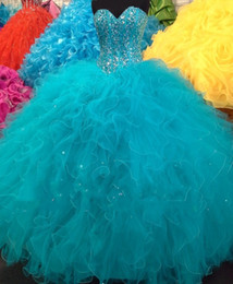 2016 New Real Image Quinceanera Dresses Sweetheart Beading Ruffles Ball Gown 15 Year 16 Sweet Girls Princess Prom Party Gowns Custom Made
