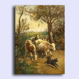 Wholesale Hand painted Hi Q modern wall art home decorative abstract oil painting on canvas cows cattles with dog running x36inch Unframed