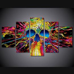 2017 línea de hd 5 pedazo HD impreso Líneas coloridas del cráneo Grupo Pintura cuadro de la habitación impresión cartel cuadro lienzo enmarcado descuento línea de hd