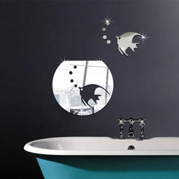 Wholesale 1PC Beautiful Design D DIY Acrylic Silver Mirror Sea Fish Bubble Wall Sticker Home Decal Decor Art