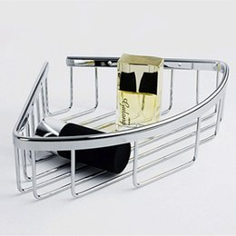 Wholesale Genuine stainless steel bathroom hanging basket rack hanging shelf rack single triangle shower basket corner wall frame