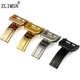 ZLIMSN Steel Buckle Watch Single Butterfly Deployment Clasp Fold Stainless 18mm Polished Black Rose gold silver Clasp