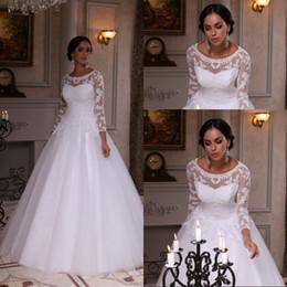 vestidos de novia Custom Made A Line Floor Length White Organza Wedding Dresses With Long Lace Sleeve Appliques Bridal Gowns Hot Sale