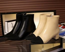 Wholesale sale free ship U633 black beige genuine leather cap toe med heel short boots designer c luxury brand