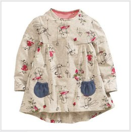 2016 Autumn Spring New Baby Girl Dress Children Long Sleeve Cartoon Animals Printing Dresses Kids Clothing Cute Girls 100% Cotton Dress