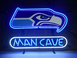 Wholesale New SEAHAWKS MAN CAVE REAL Glass Neon Sign Light Beer Bar Pub Arts Crafts Gifts Sign Size quot