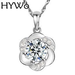 HYWo (without chain) 2016 New Fashion Silver Plated Pendant Plum Flower Design CZ Diamond Crystal Pendant Women Jewelry Wholesale