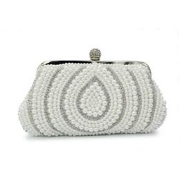 Descuento señoras monederos moldeado Al por mayor-color blanco perla con las señoras de bolso de la cadena del partido de tarde de cuentas de monedero (C127)