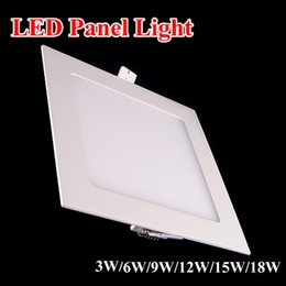 2017 dans la lumière conduit 6w Panneau LED Down lampes 3W 6W 9W 12W 15W 18W 24W Ultra Mince Encastré 110-240V White Square LED Plafonniers 110-240V Downlight budget dans la lumière conduit 6w