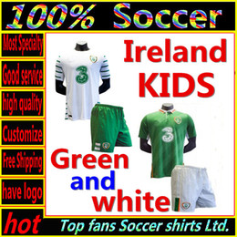 Wholesale Whosales Euro Cup Kids Soccer Jerseys Youth Jerseys Republic of Ireland Football Shirt KEANE Soccer Uniforms kit sets Top Quality