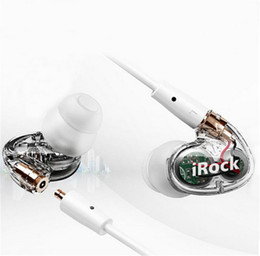 IROCK A8 Double dynamic headphones Ear Hook In-ear Earphone Transparent headphone Wired Super Bass headset DJ Dual Driver Earphones