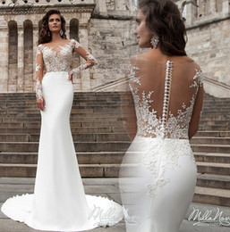 Robe de marriage Illusion Long Sleeves Mermaid Wedding Dresses Sheer Jewel Neck Appliques Long Bridal Gowns Western Country Wedding