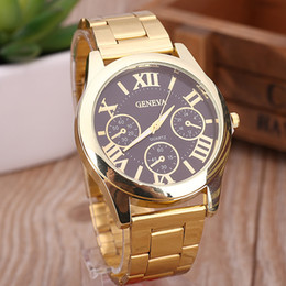 High Quality Luxury Geneva Womens Mens Lady Gold Stailess Steel Roman Analog Quartz Wrist Watch Wristwatches Quartz Movement Watches Gift