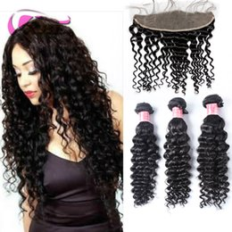 xblhair deep wave human hair extensions lace frontal bundles 3 bundles deep wave and one lace frontal