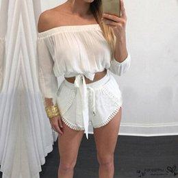 Wholesale Ladies Lace Rompers - 2016 New Summer Womens Jumpsuit Sexy Rompers Ladies Slash Neck Off Shoulder Fashion Solid Lace Crochet Short Bodysuit Plus Size
