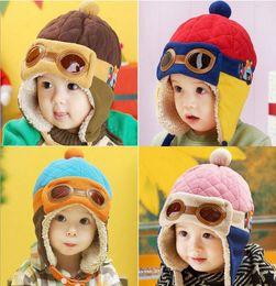 Wholesale Toddlers Warm Flight Cap Hat Beanie Pilot Aviator Cap Cool Baby Boy Girl Kids Infant Winter Fleece Warm Animal Bear Hat