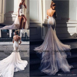 Wholesale Pallas Couture Mermaid Split Wedding Dresses Champagne Church Train Off shoulder Elegant Country Garden Berta Wedding Gowns