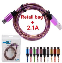 Wholesale Metal Fabric Cords Nylon Braided A FAST charger Micro USB Cable Unbroken Metal Connector Lead charger Cord For Android samsung S7 LG mobile