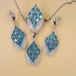 Wholesale Sky Blue Emerald White Topaz Sterling Silver Jewelry Sets For Women Necklace Pendant Earrings Size Rings Free Gift Box