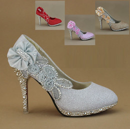 Spring, summer, the new diamond wedding shoes with the bride in the wedding shoes red high-heeled gold silver wedding dress shoes