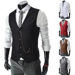 Hot 2017 Sale Mens V-Neck Slim Fit zipper Vests Suit Casual Formal Tuxedo Dress Waistcoat Style Outerwear & Coats