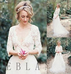 Wholesale 2016 Beach Wedding Dresses Anne Blanche Sexy Deep V neck Bohemian Tulle Lace Long Sleeve Backless Wedding Bridal Gowns Custom Size JL
