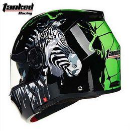 2016 New Tanked Racing dual lens open face motorcycle helmet male undrape face motorbike racing helmets T270 size M L XL