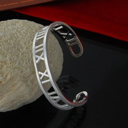 Factory direct cuff bangle wholesale 925 Sterling Silver Bangle Bracelet opening air Rome fashion silver bracelet