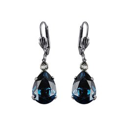 Wholesale New fashion lady Earrings environmentally friendly materials ink blue glass pair drop shipping