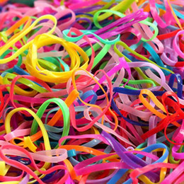 High Quality New 3000 Pcs pack Fashion School Office Supplies Girls Hair Bands Small Baby Rubber Band Mix Color Hair Loop