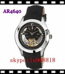 Wholesale TOP QUALITY BEST PRICE New AR4640 AR4641 AR4642 Men s Meccanico Black Leather Band Watch Original Box