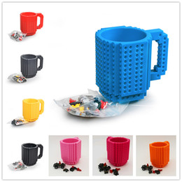 Wholesale 2016 New Hot Drinkware Building Blocks Mugs DIY Block Puzzle Mug oz Piece Build On Brick Creative Mug Lego Type Coffee Cup