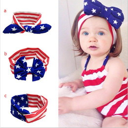 Baby star stripe national flag bowknot Headbands 3 Design Girls Lovely Cute American flag Hair Band Headwrap Children Elastic Accessories