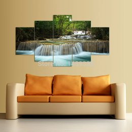 5 Panel Waterfall Painting Canvas Wall Art Picture Home Decoration Living Room Canvas Print Painting--Large Canvas Art F 1037