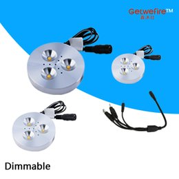 NEW 3pcs DC 12v 3W LED Puck Cabinet Light,LED spotlight+1PCS Power connect wire
