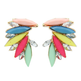 Canlyn Jewelry (2 pairs lot ) Fashion Neon Color Acrylic Crystal Angel Wings Leaf Stud Earrings bijouterie CE017