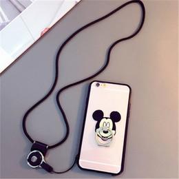 Promotion téléphones cellulaires concepteur Étuis pour téléphone portable de style Micky Hello Kitty Kickstand avec cordon de 40 cm pour Samsung S6 S7 A8 25