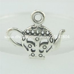 Wholesale 15554 Alloy Antique Silver Vintage Hollow Teapot Coffee Pot Pendant