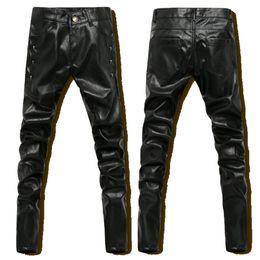 Wholesale-Hip Hop Mens Black Leather Pants Faux Leather Skinny PU Pants Men Outdoor Winter Sports Harem Jogger Pant New 2016