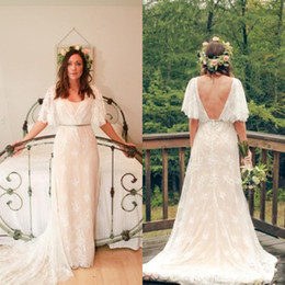 Wholesale Fall Country Bohemian Wedding Dress V neck Bell Sleeves A line Beautiful Lace Overlay Nude Slip Greek Goddness Backless Wedding Gowns