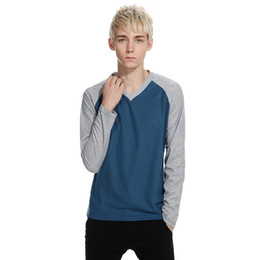Free Shipping US Size S-2XL autumn new casual fashion men's T-shirt raglan sleeve V-neck long-sleeved T-shirt Slim Men
