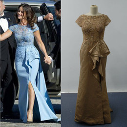 Short Sleeves Celebrity Dresses 2016 Mermaid Sheer Lace Top Low Back Slit RufflesSofia Hellqvist Royal Pre-Wedding Gowns