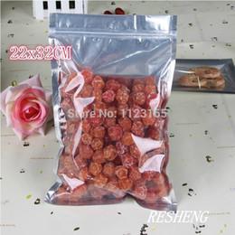 Descuento bolsas de embalaje reutilizables 22 X 32 CM, claro bolsa de plástico resellable 100 X translúcido Papel de aluminio chapado Zip Lock-Bolsa de plata metálico frontal de aluminio