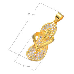 CZ Micro Pave Brass Pendant, Slipper Plated Women's Sweater Chain Charm Micro Inlay Cubic Zirconia More Colors For Choice 11x25mm Hole:3.4mm