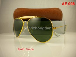 Wholesale 1Pair Excellent Quality Men Male Designer Pilot Sunglasses Outdoorsman Sun Glasses Eyewear Gold Golden Green mm Glass Lenses With Box Case