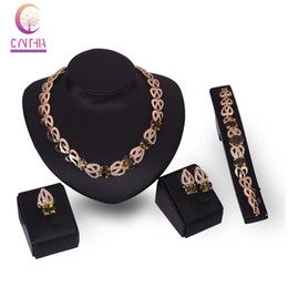 Women Gold Plated Emerald Ruby African Beads Wedding Jewelry set Costume Austrian Crystal Necklace Earrings Bracelet Ring Sets