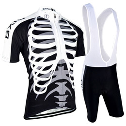 2016 New Arrival Cycling Jerseys Sets Bones Printed Black Cycling Clothing Compressed Cube Bicycle Cutfits BX-0209H042
