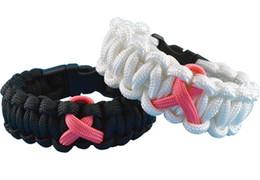 Promotion ruban rose sein Équipement de survie militaire Paracord Bracelet Fondation de recherche sur le cancer du sein® Pink Ribbon 550 paracord DHL Shiping gratuit