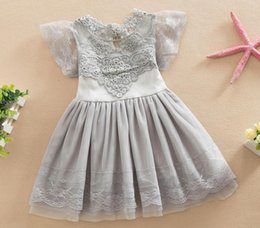 Wholesale Children Set Kids Suit Outfits Girl Dress Summer Lace White T Shirts Baby Denim Skirt Kid Dress Suits Child Clothes Kids Clothing